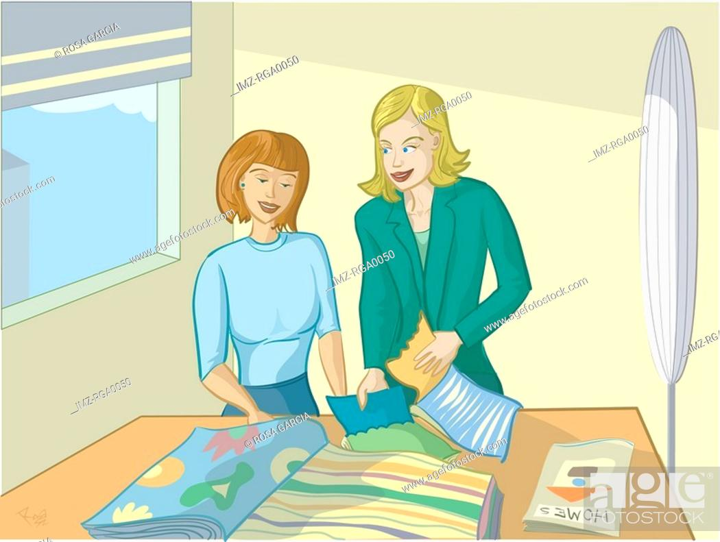 Stock Photo: Two women looking at swatches.