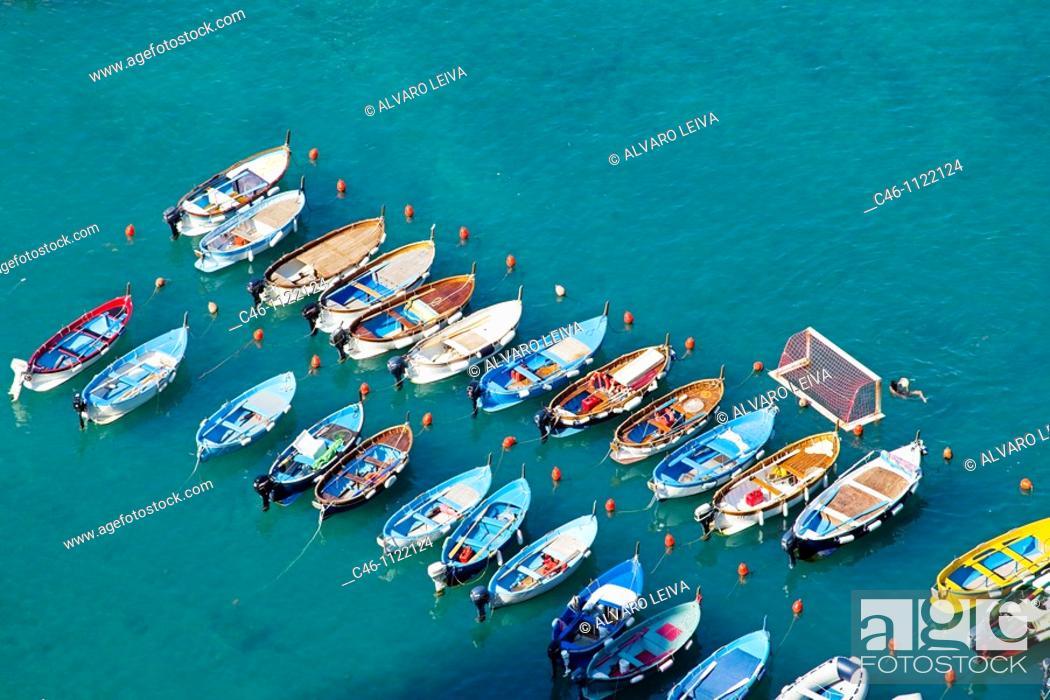 Stock Photo: Boats. Vernazza. Cinque Terre. Liguria. Italian Riviera. Italy.