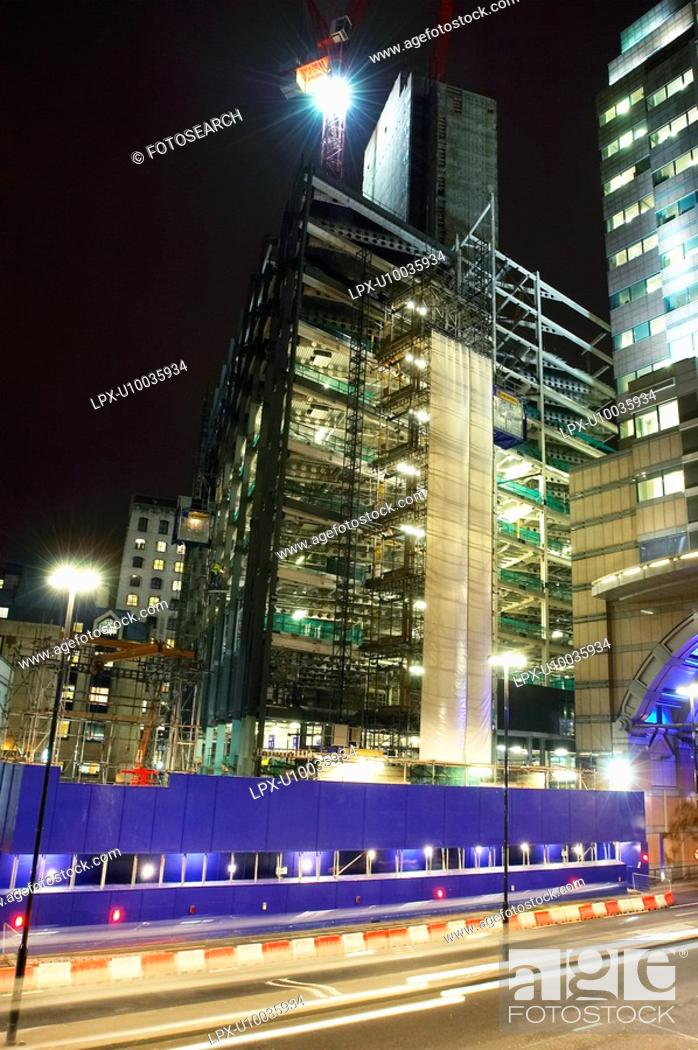 Stock Photo: Construction site at night, Central London, UK.