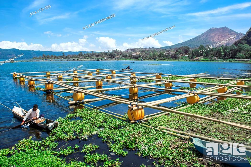 Stock Photo: Lake Batur, Fishermen, Bali, Indonesia, Southeast Asia, Asia.