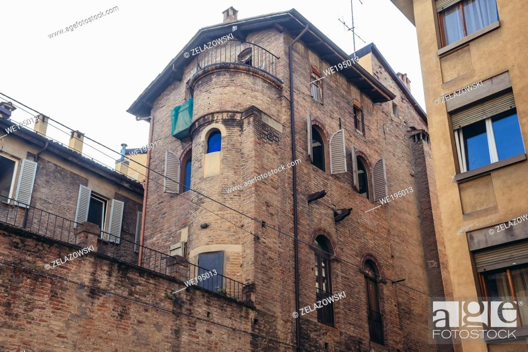 Stock Photo: Old residential building in historic part of Bologna, capital and largest city of the Emilia Romagna region in Northern Italy.