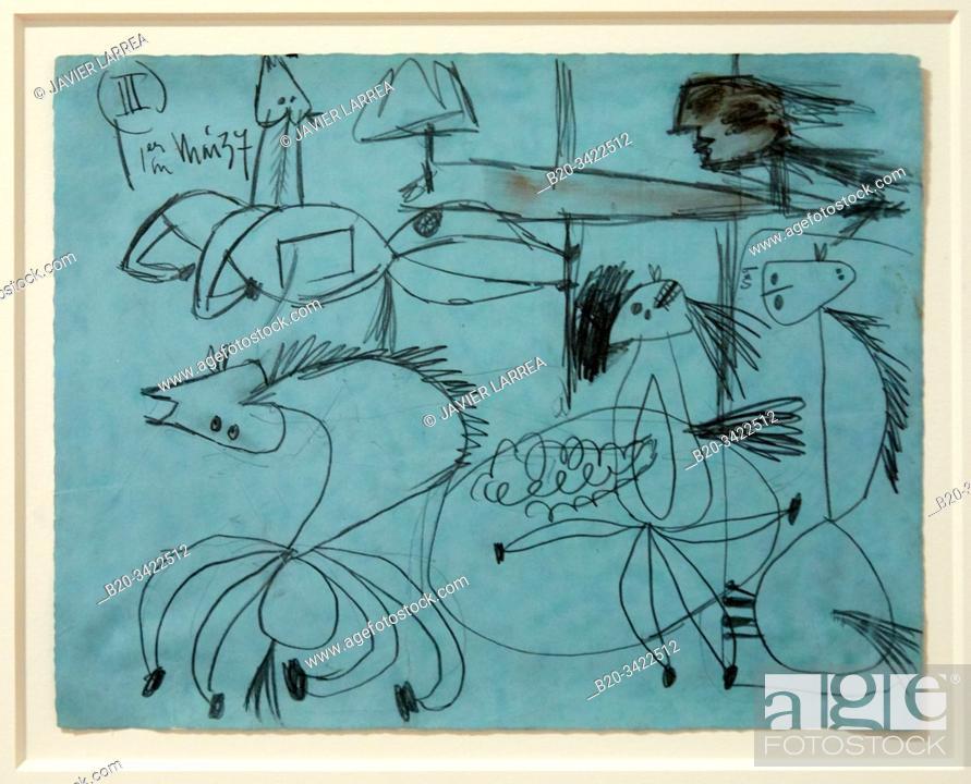 """Stock Photo: """"""""""""Étude de composition (III). Dessin préparatoire pour """"""""Guernica"""""""" """""""", 1937, Pablo Picasso, 1881-1973, Musée de l'Armée, Paris, France."""