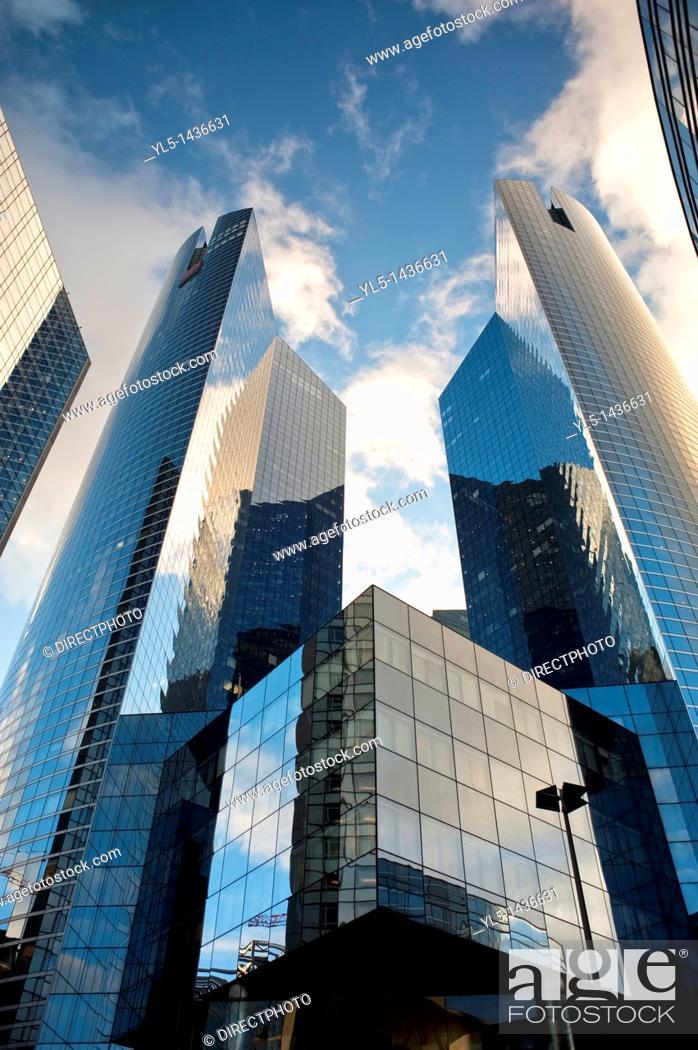 Stock Photo: Paris, France- Contemporary Architecture, Societe Generale Banque Building, in La Défense Commercial Center.
