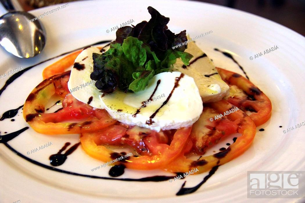 Stock Photo: Salad of tomato and fresh cheese. Porto Colom, Majorca, Balearic Islands, Spain.