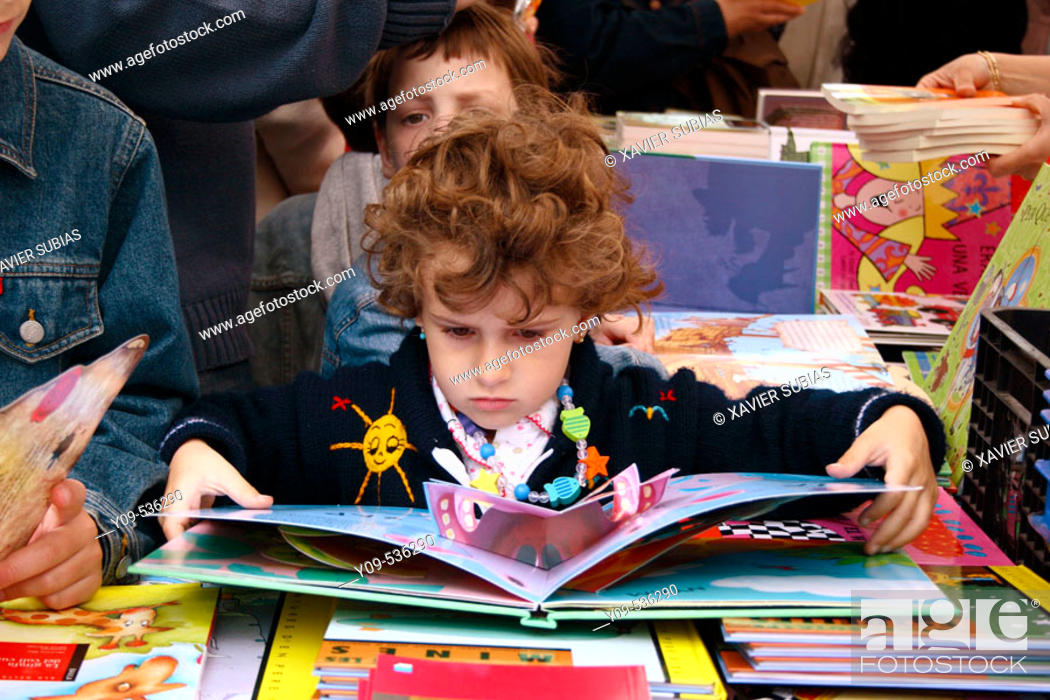 Stock Photo: Book stall during Sant Jordi festival. Barcelona. Spain.