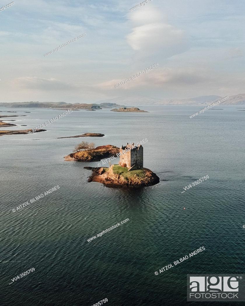 Stock Photo: Castle Stalker on Loch Linnhe, near from Glencoe in the center of the Scottish Highlands. .