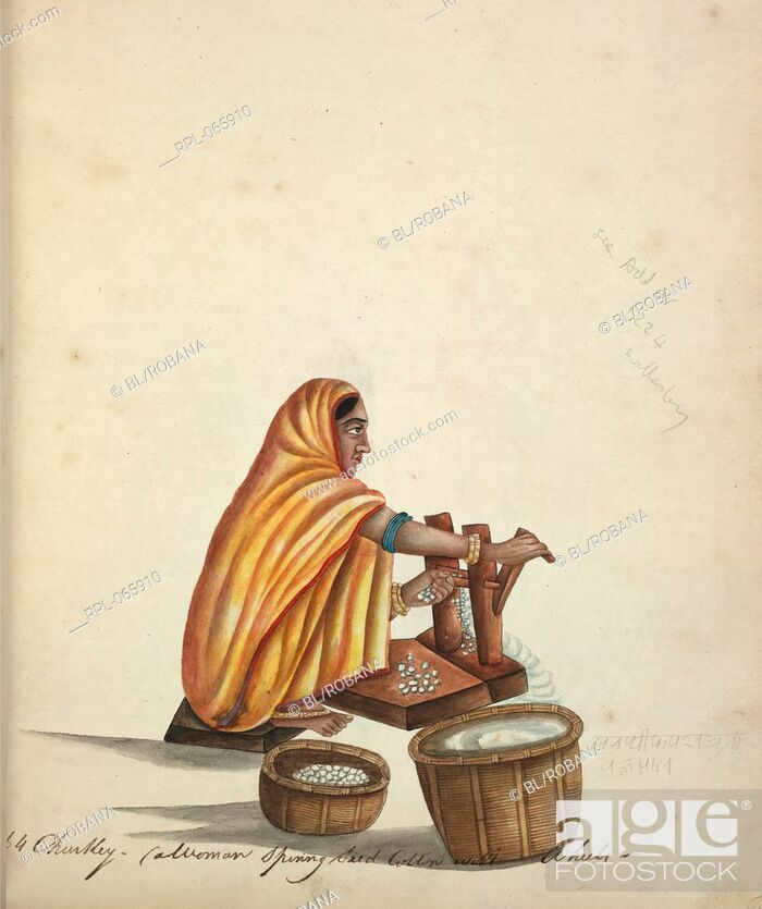 Imagen: Woman ginning cotton. Watercolour. Originally published/produced in 1815-1820.