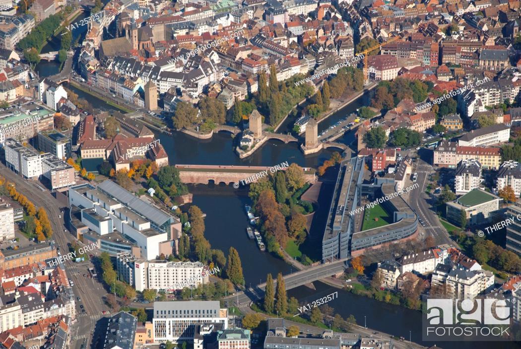 Stock Photo: France, Bas Rhin 67, Strasbourg city, la Petite France area aerial view.