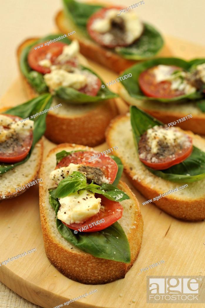 Stock Photo: Organic vegetable open sandwiches.