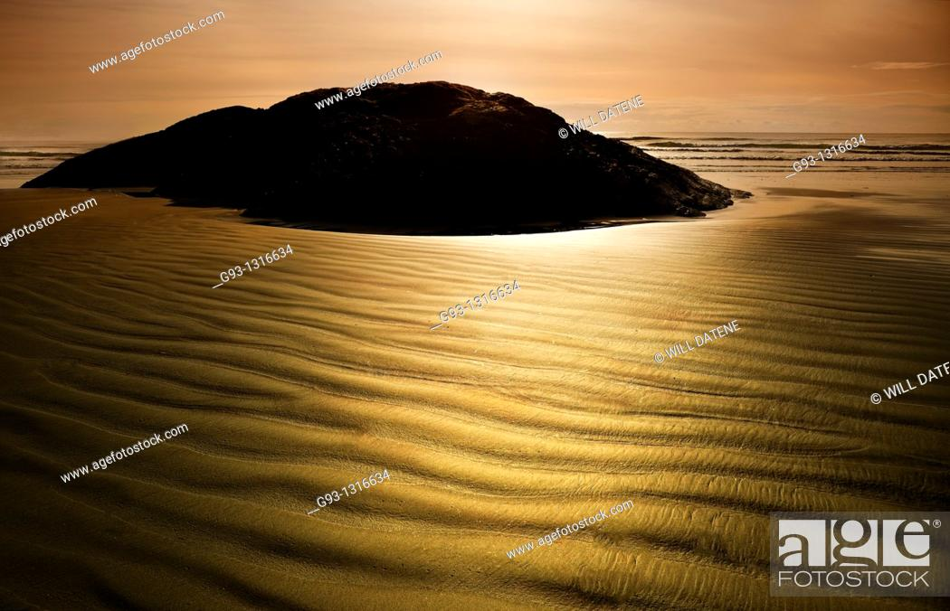 Stock Photo: Texture in sand on beach. Vancouver Island, British Columbia, Canada.