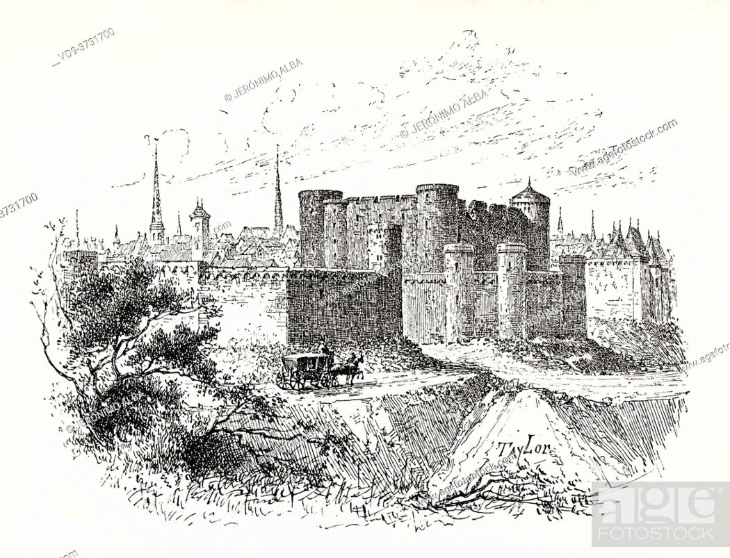 Stock Photo: Ancient image of the Château d'Angoulême, castle in the city of Angouleme. Charente department, France. Old XIX century engraving illustration.