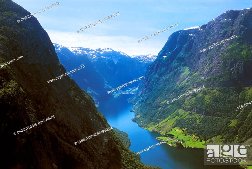 Stock Photo: Naeroyfjord, Hordaland, Norway.