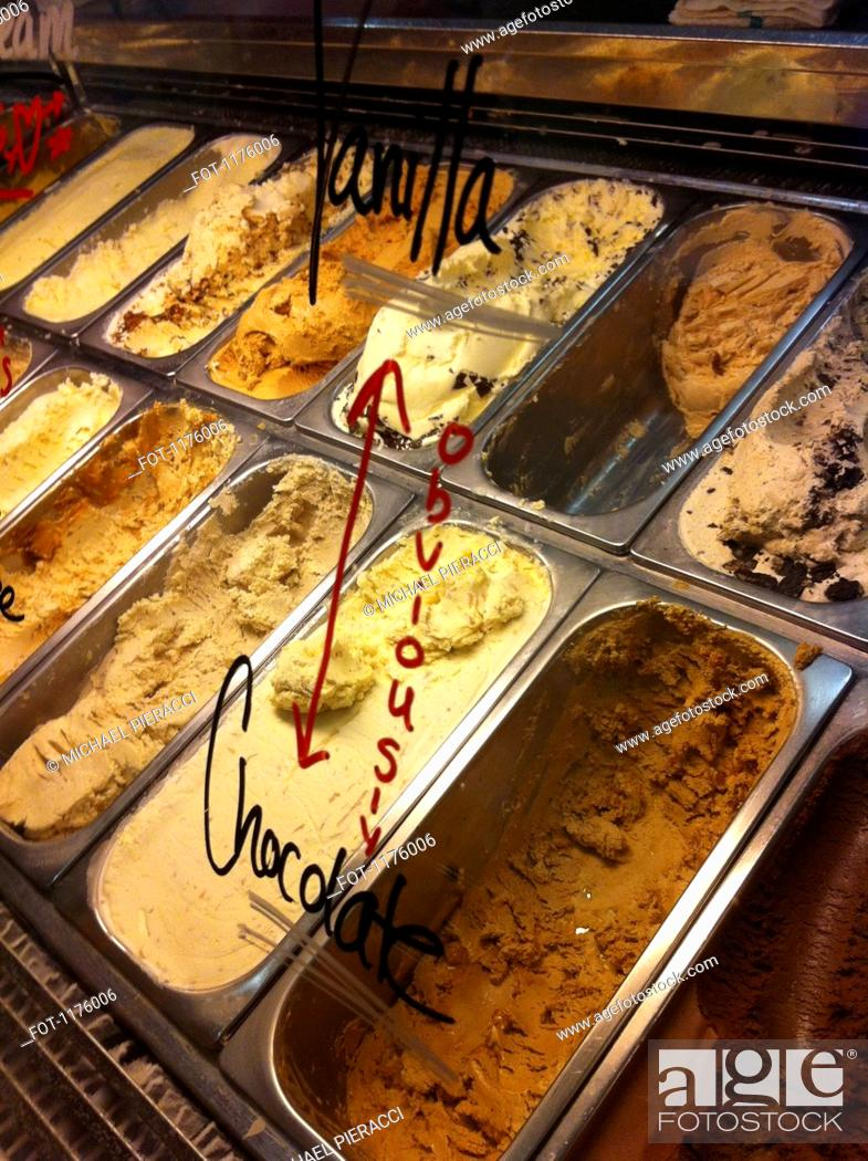 Stock Photo: Ice cream parlor display window.