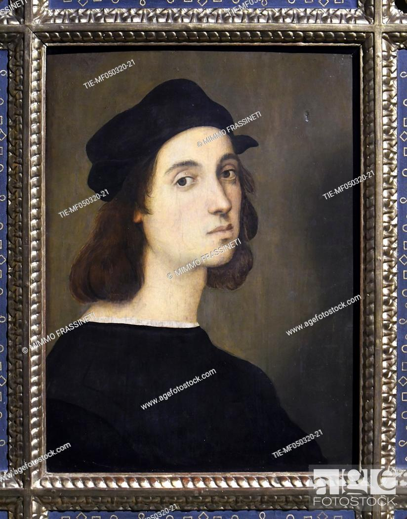 Stock Photo: 'Selfportrait' 1506/08 by Raphael in Rome, ITALY-04-03-2020.