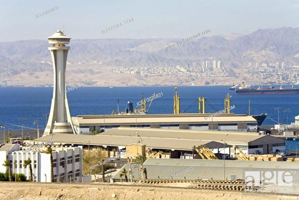 Stock Photo: Jordan, Aqaba, harbour and Eilat on Israelian bank.