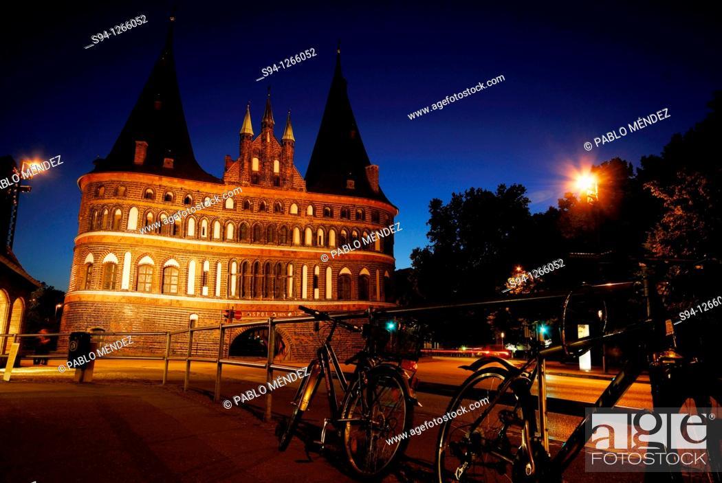 Stock Photo: Holstentor door in hanseatic city of Lübeck, Schleswig-Holstein, Germany.