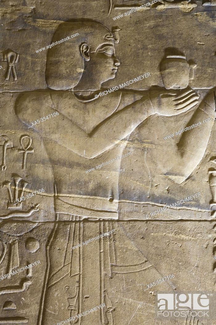 Photo de stock: Relief of Pharaoh, Sanctuary, Temple of Isis, UNESCO World Heritage Site, Philae Island, Aswan, Egypt.