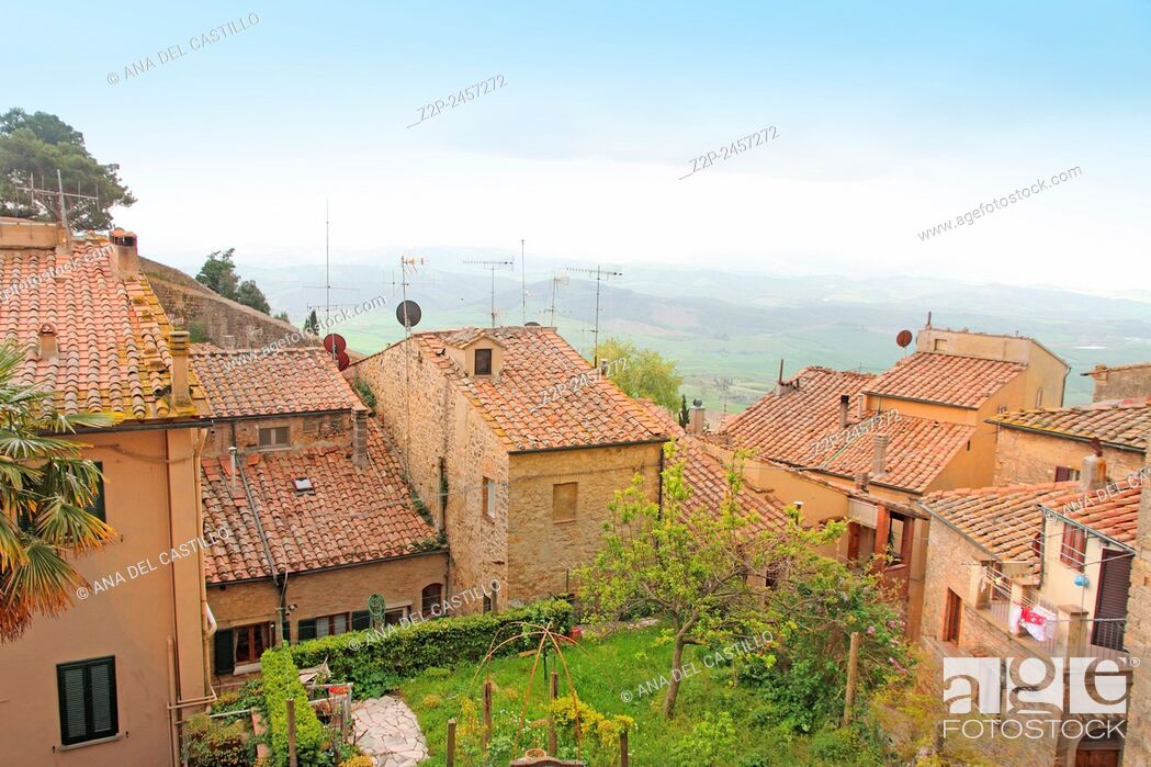 Stock Photo: Rooftops and view from the old town of Volterra in Tuscany, Italy.