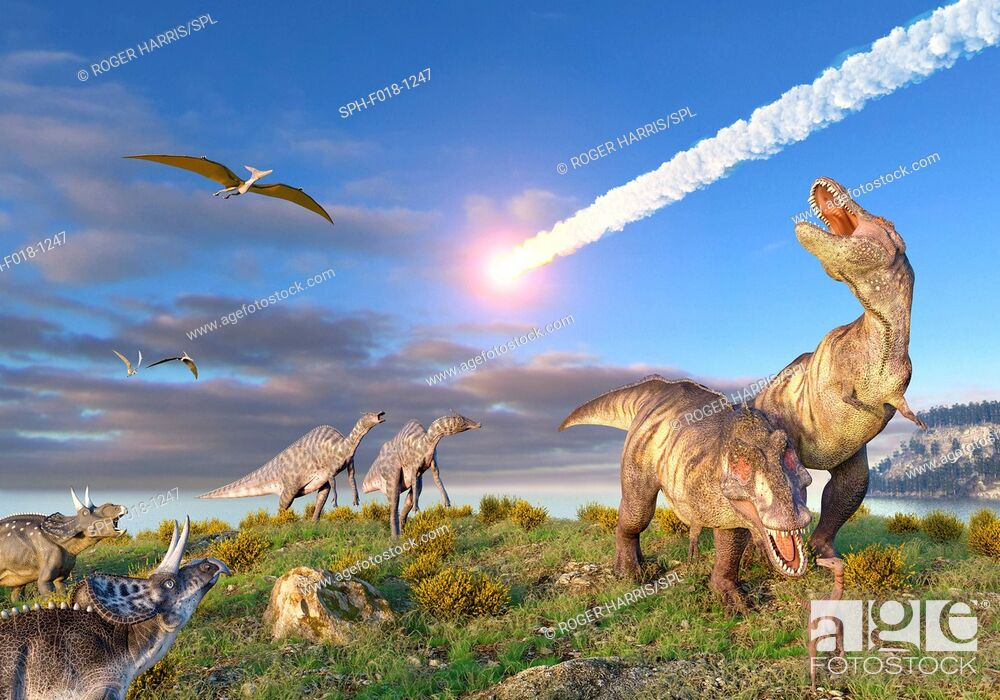 Stock Photo: Illustration of the K/T Event at the end of the Cretaceous Period. A ten-kilometre-wide asteroid or comet is entering the Earth's atmosphere as dinosaurs.