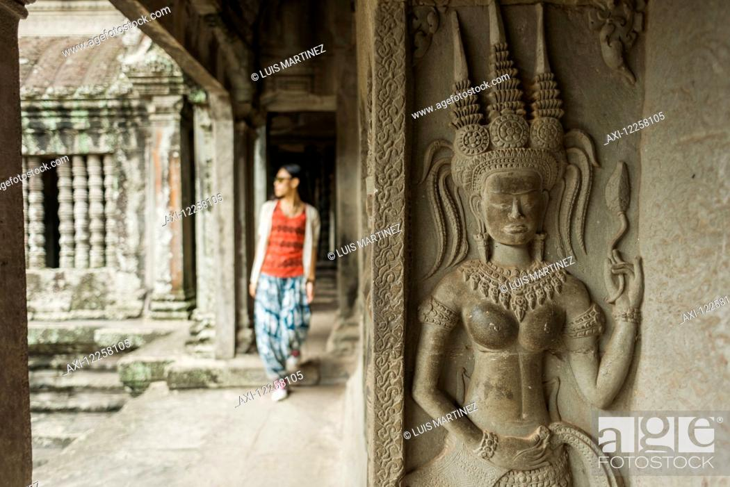 Stock Photo: The most impressive temple of Angkor, built by the King Suryavarman II in the 12th Century dedicated to Vishnu; Siem Reap, Cambodia.
