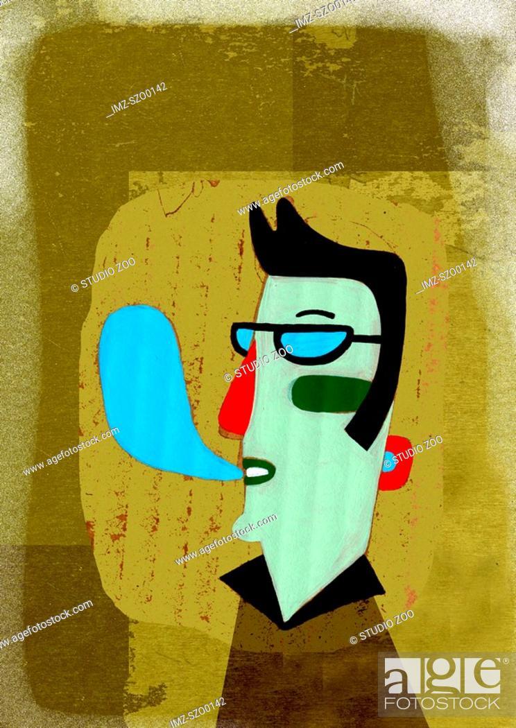 Stock Photo: Man wearing sunglasses and talking.