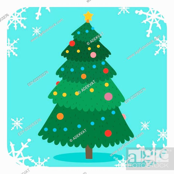 christmas tree flat design vactor icon greeting card christmas tree vector stock vector vector and low budget royalty free image pic esy 032953276 agefotostock 2