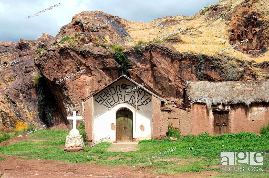 Stock Photo: Chapel at a rock face, Bolivian Altiplano highlands, Departamento Oruro, Bolivia, South America.