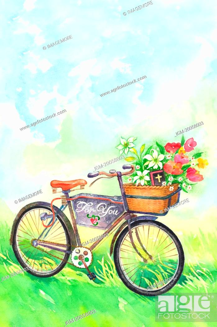 Stock Photo: Flower, Watercolor painting of a bicycle with flowers in nature.