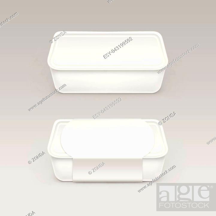 Vector White Blank Food Plastic Box