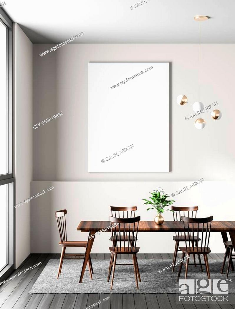 Stock Photo: Mock up poster frame in modern dining room. Scandinavian style dining room. 3D illustration.