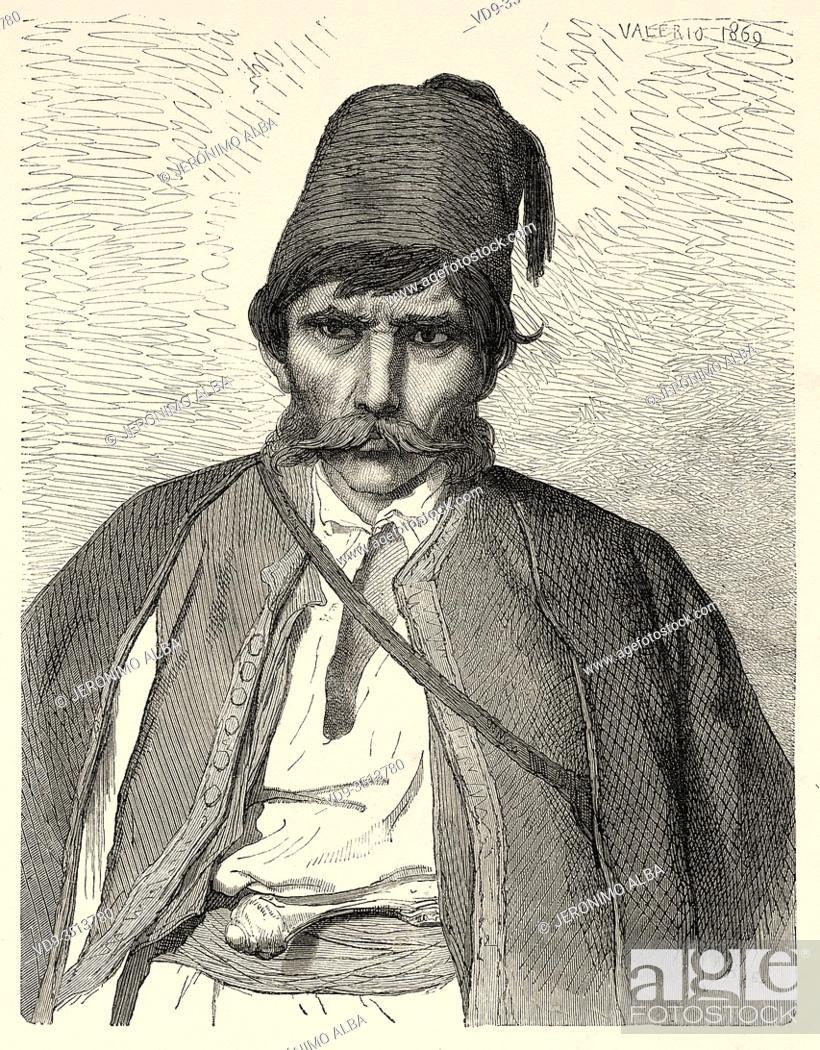 Photo de stock: Settler man, Bosnian military border, Bosnia. Europe, Old engraving illustration Trip land of southern Slavs by M. Perrot.