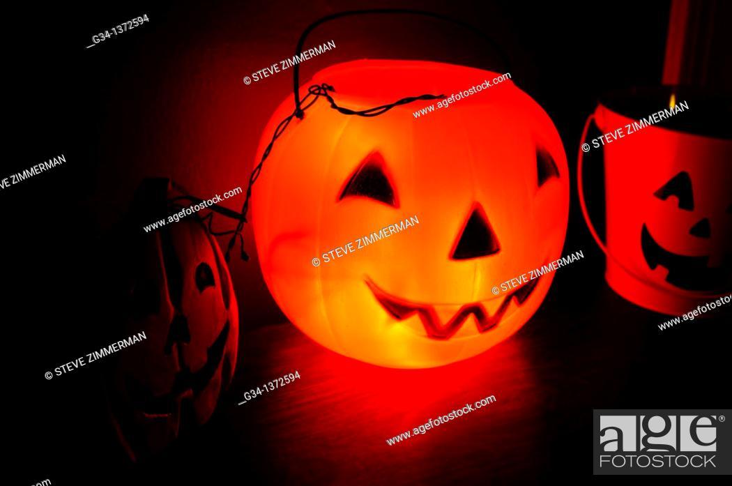 Stock Photo: Jack o' Lanterns.