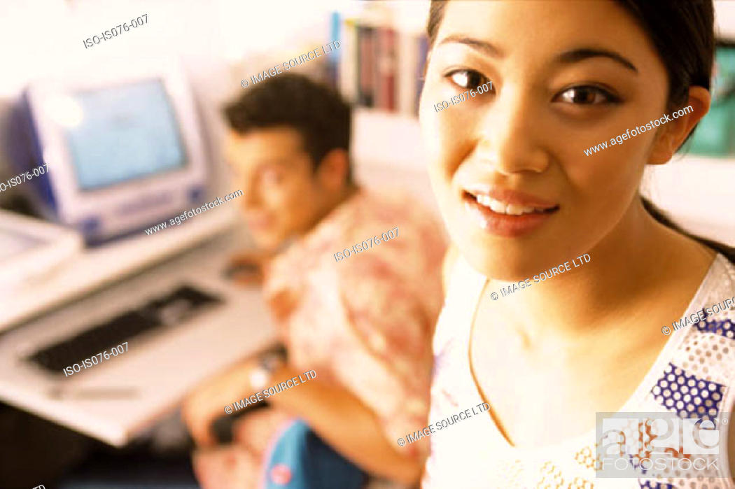 Stock Photo: Couple with computer.