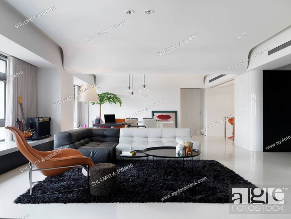 Large Modern Living Room With Black Shag Rug Stock Photo Picture