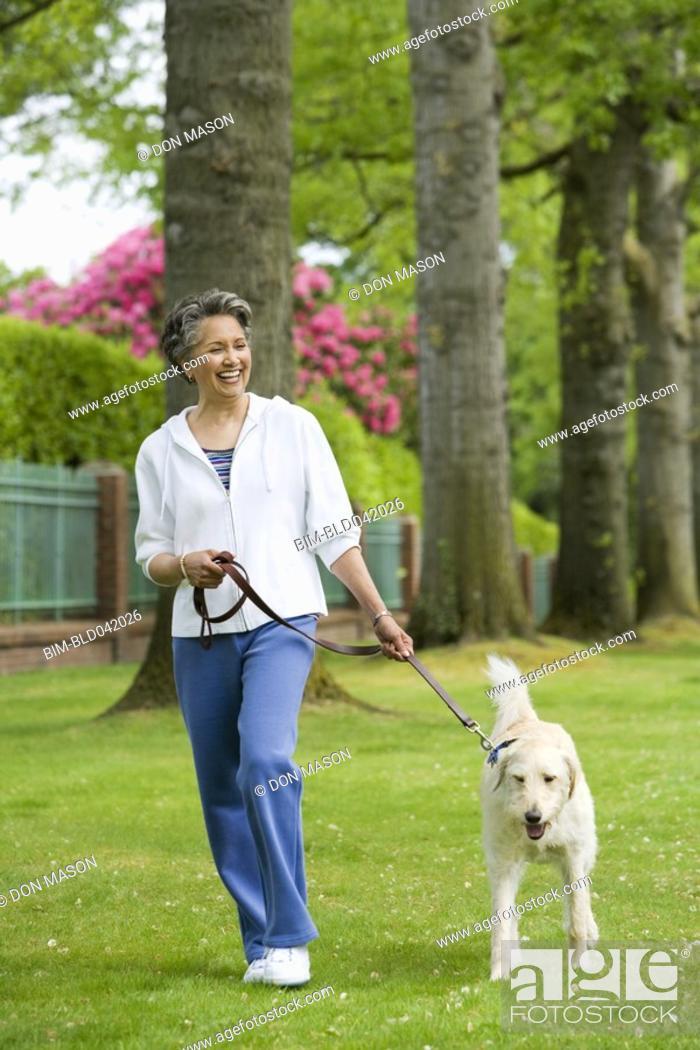 Stock Photo: African American woman walking dog.