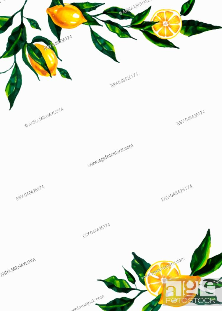 Stock Photo: Hand drawn bright illustration with lemon branches for wedding invitation, greeting card, thank ypu card, save the date.