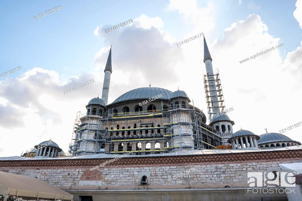 Stock Photo: View of Taksim Mosque construction building which locate in Taksin square in beyoglu,Istanbul,Turkey.