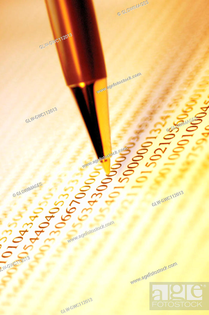 Stock Photo: Close-up of a pen on paper.