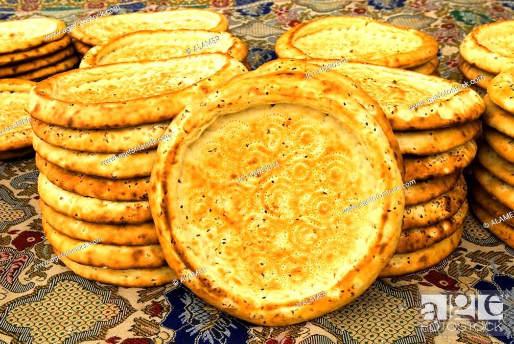 Stock Photo: China, Xinjiang, traditional Uyghur breads.