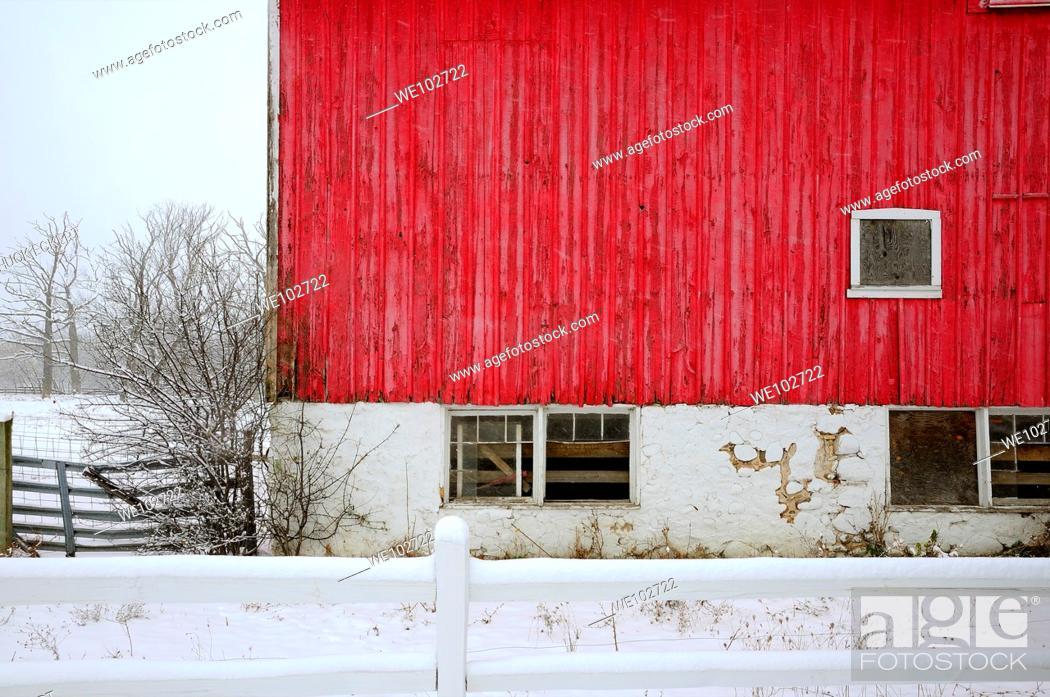 Stock Photo: Red Barn abstract during snowstorm.