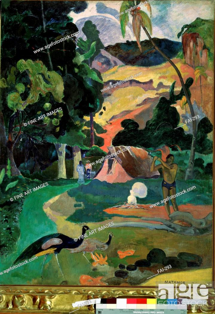 Stock Photo: Matamoe (Death. Landscape with peacocks). Gauguin, Paul Eugéne Henri (1848-1903). Oil on canvas. Postimpressionism. 1892. State A.