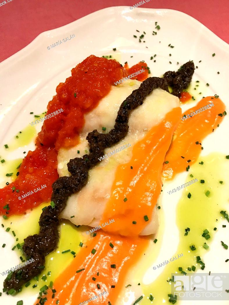 Stock Photo: Hake loin with vegetables sauces.