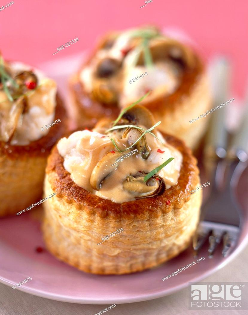 Stock Photo: Monkfish vol-au-vents with lobster bisque sauce.