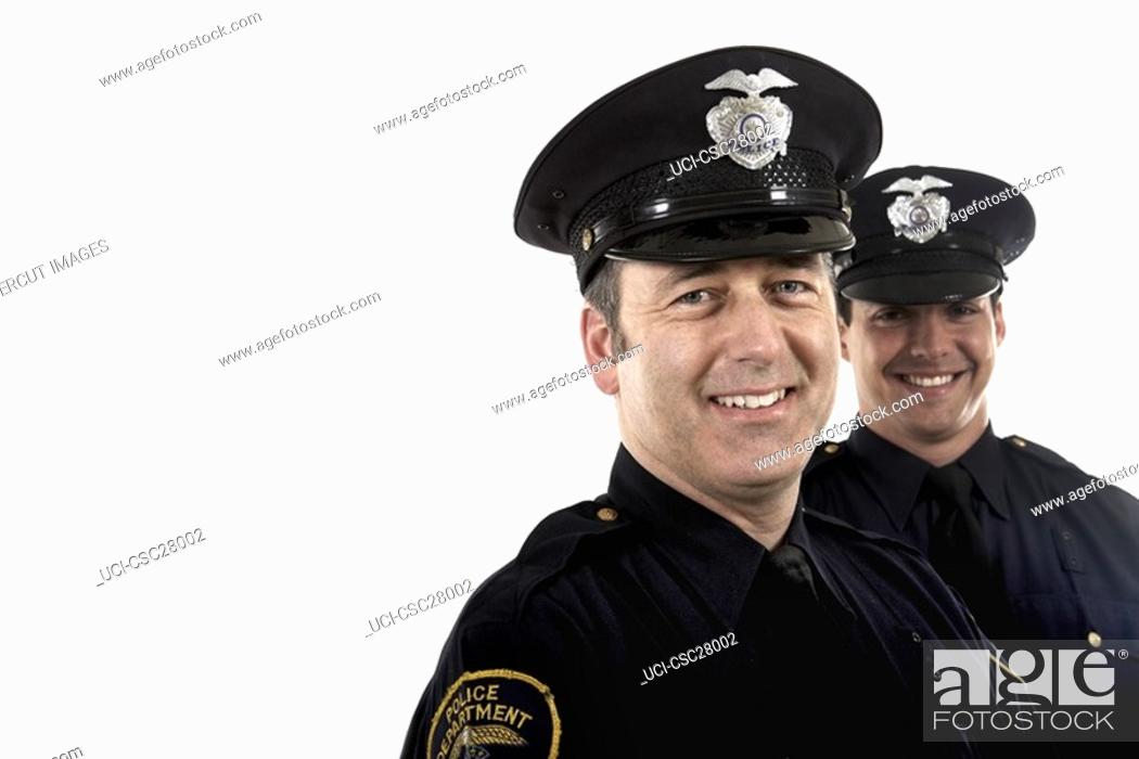 Stock Photo: Male police officers smiling.
