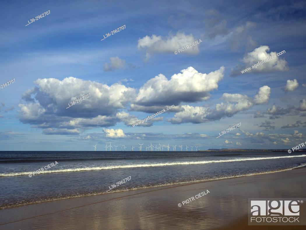 Stock Photo: Great Britain. A windfarm of the sea coast.