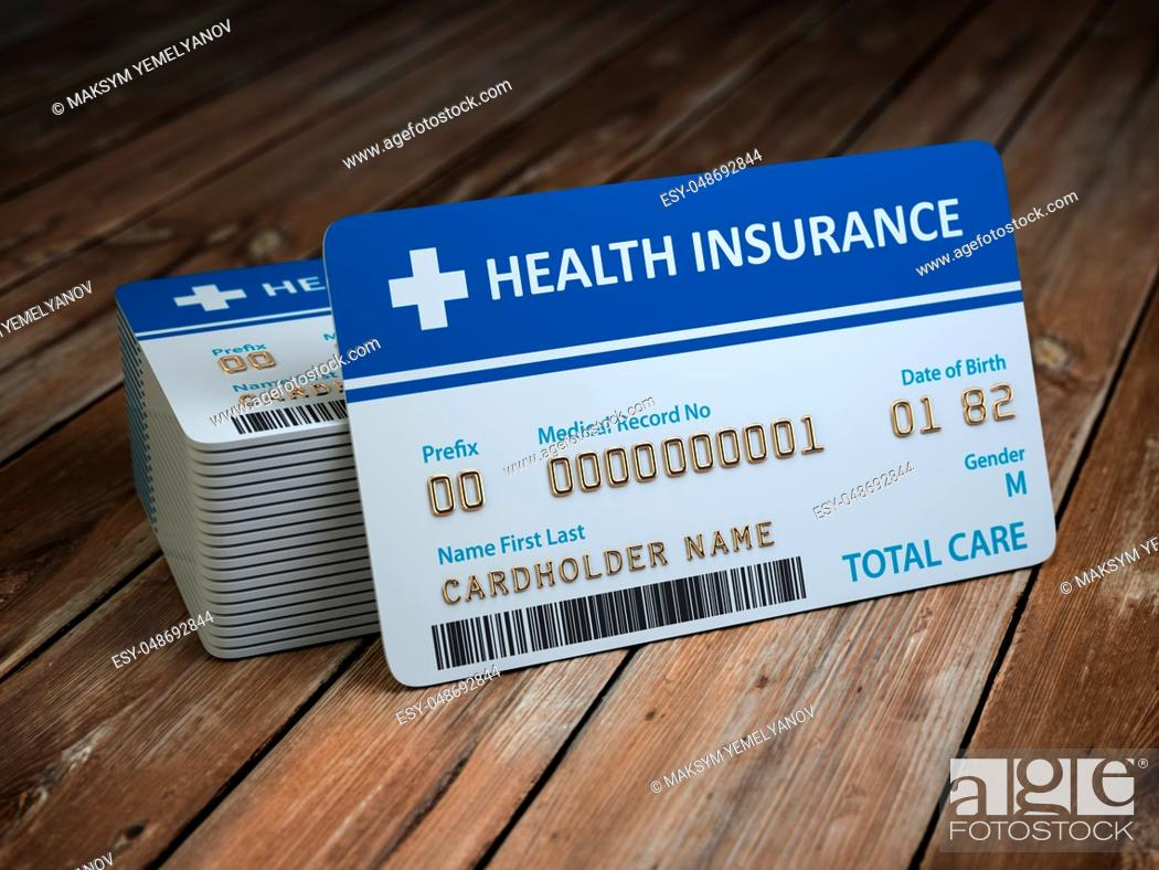 Imagen: Health care medical Insurance card on the wood background. 3d illustration.
