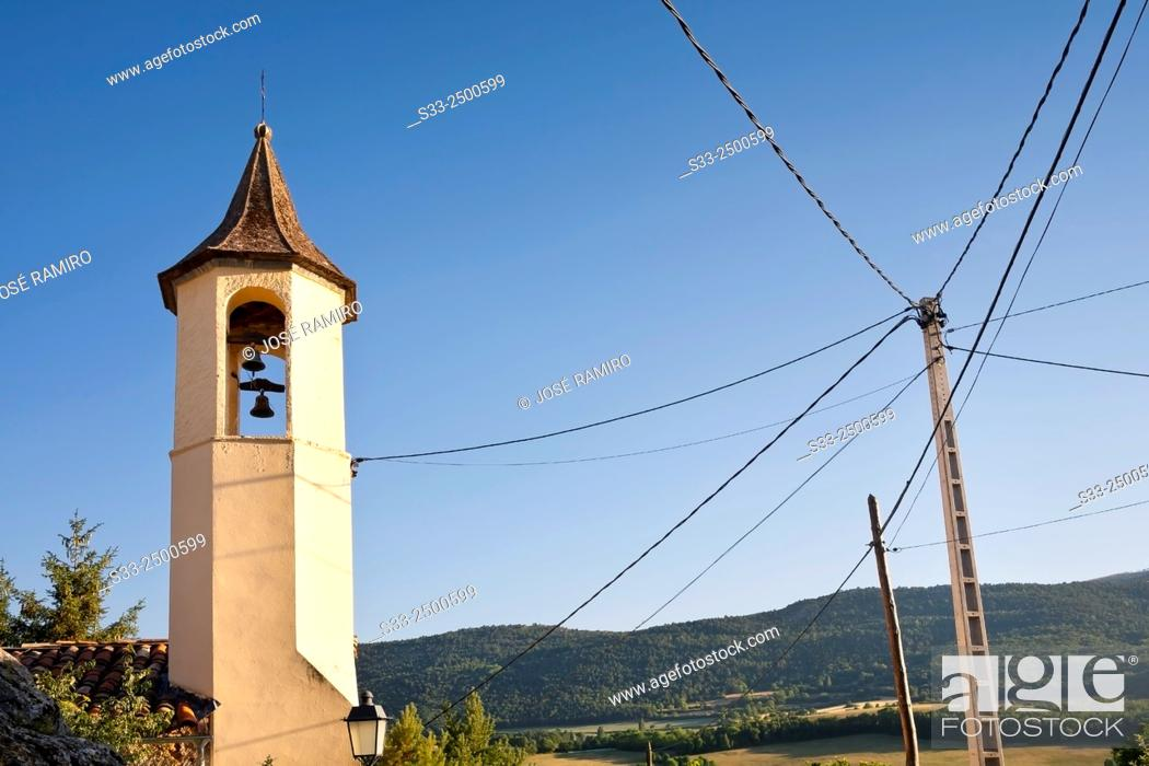Stock Photo: Church tower and power tower in Montcortes. Lérida. Cataluña. Spain. Europe.