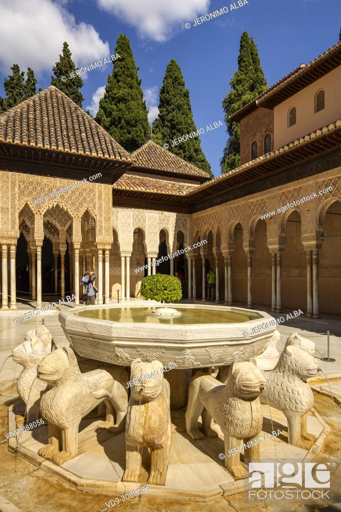 Stock Photo: Patio de los Leones, Court of the Lions. Alhambra, UNESCO World Heritage Site. Granada City. Andalusia, Southern Spain Europe.
