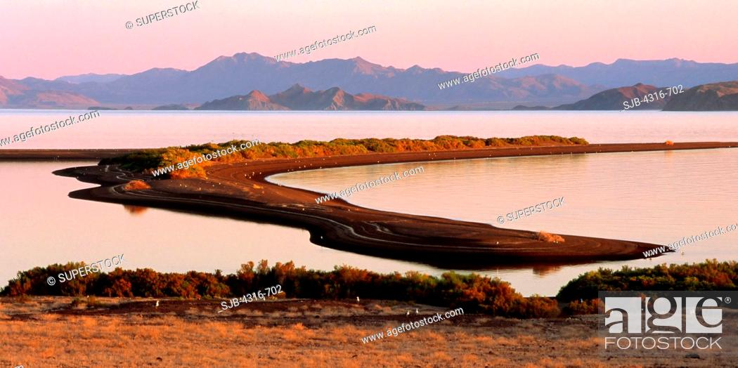 Dusk Light And A Spindly Sea Of Cortez Sand Spit Stock Photo