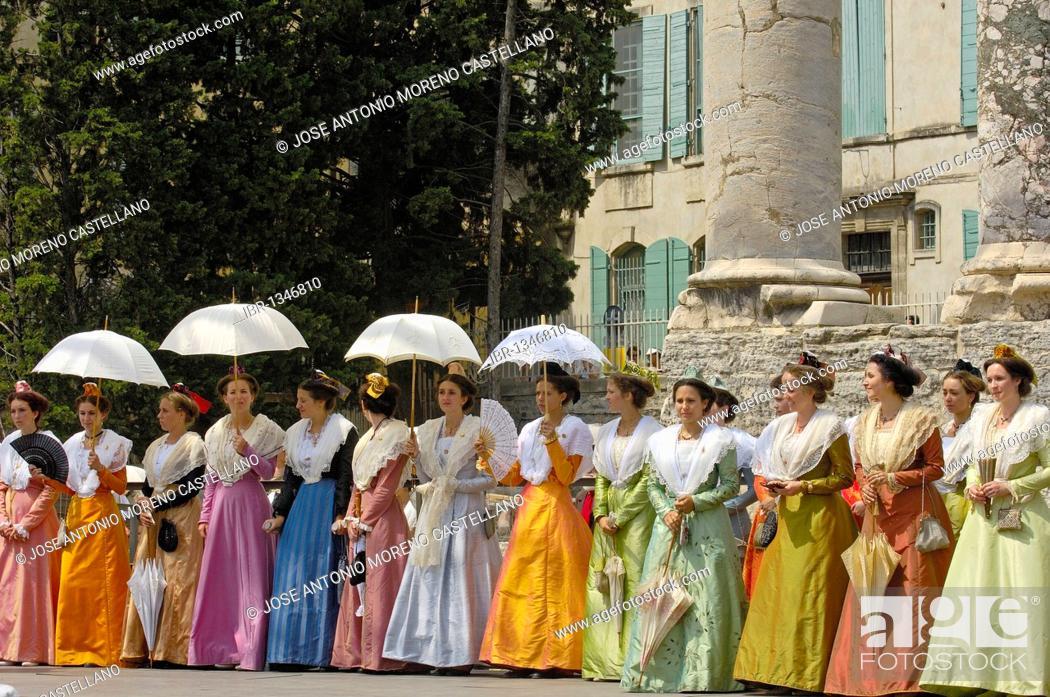 Stock Photo: Arlésiennes, Fete du Costume, Arles, Bouches du Rhone, Provence, France, Europe.